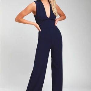 Lulu's Navy Backless Jumpsuit Size Small